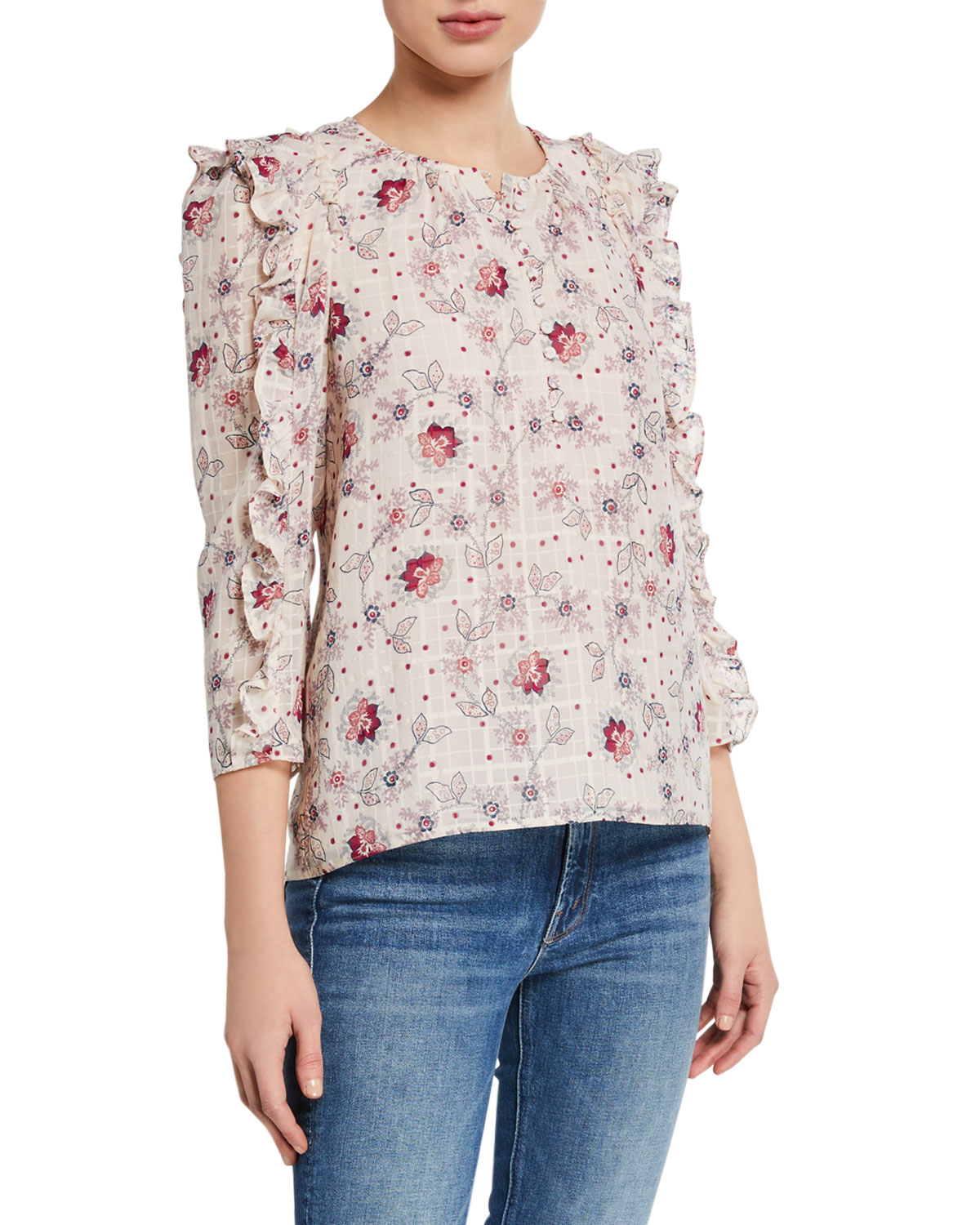 Rebecca Taylor Claudine Printed Ruffle Top