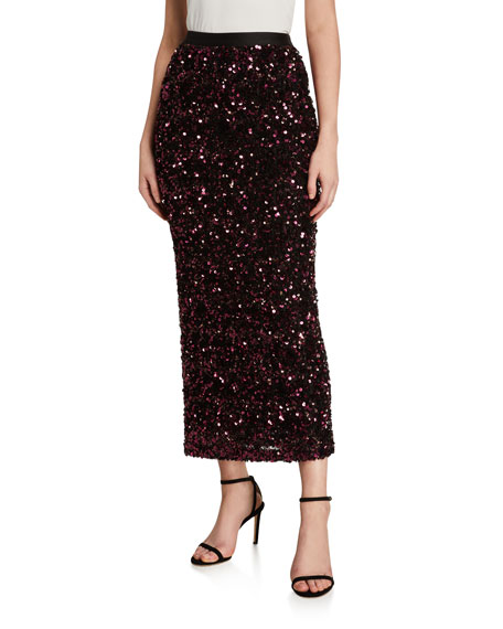 Rebecca Taylor Skirts STRETCH SEQUINED MIDI SKIRT