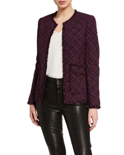 Multi-Tweed Fringe Jacket with Fringe