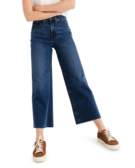 Madewell Wide-Leg Cropped Jeans with Raw Hem - Inclusive Sizing