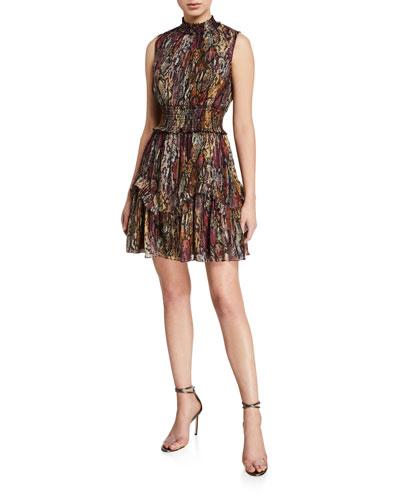 Sleeveless Metallic Snake-Print Dress