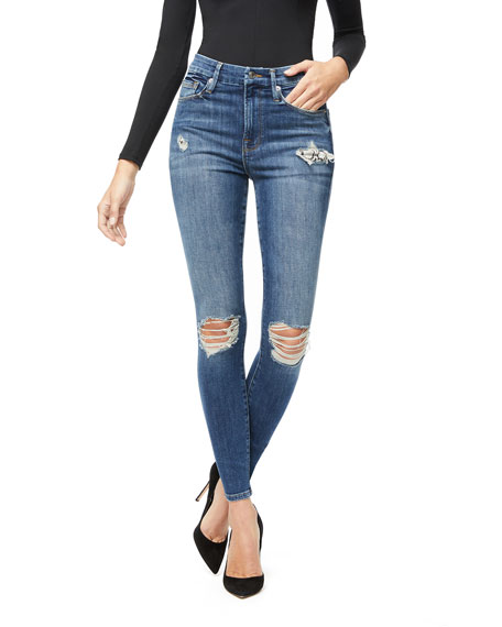 Good American Good Waist Distressed Skinny Jeans - Inclusive Sizing