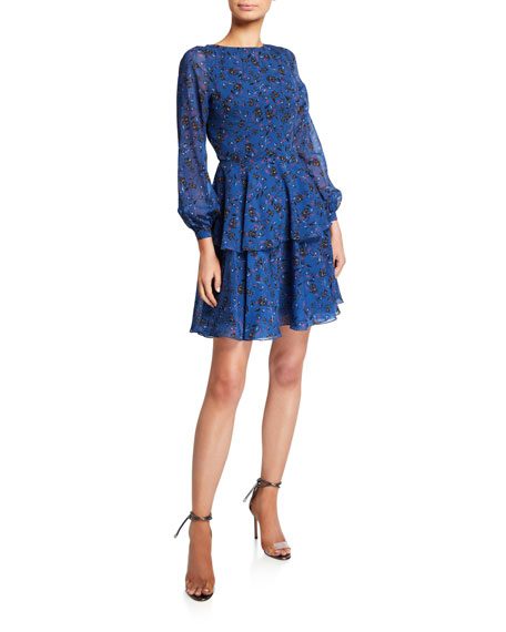 Image 1 of 2: Love, Theia Floral Blouson-Sleeve Tiered Chiffon Dress with Cutout Back