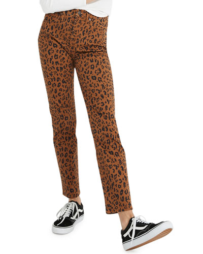 High-Rise Leopard-Print Stovepipe Jeans - Inclusive Sizing