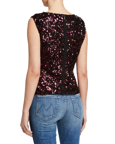 Rebecca Taylor Sleeveless Stretch Sequined Top