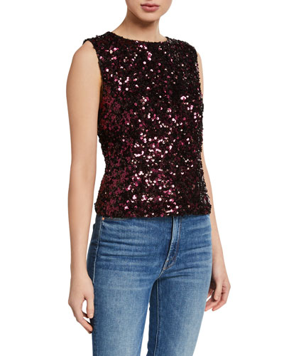 Sleeveless Stretch Sequined Top