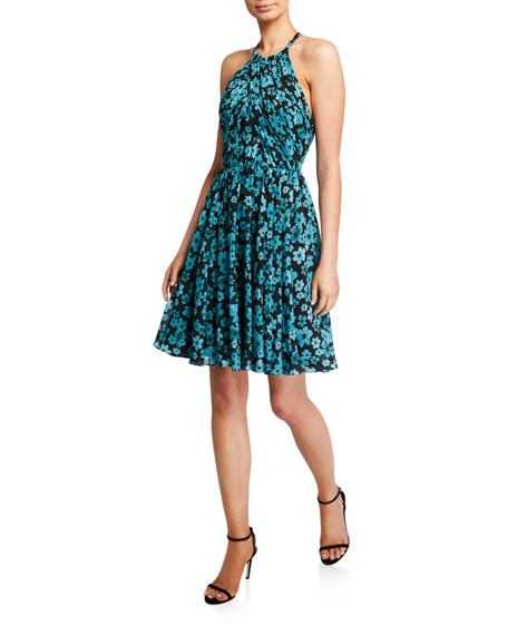Love, Theia Floral Ruched Open-Back Halter Dress