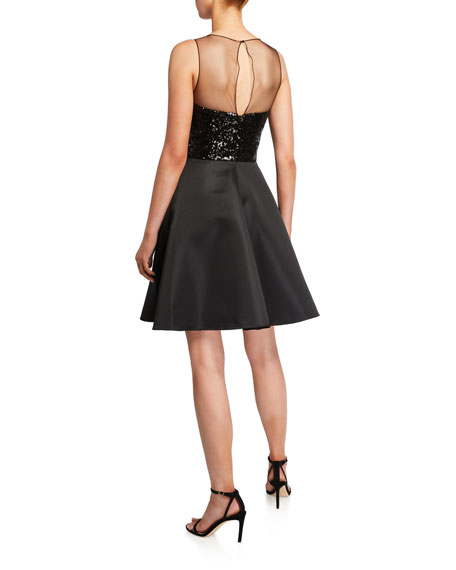 Love, Theia Sequin Knot Sleeveless Taffeta Cocktail Dress