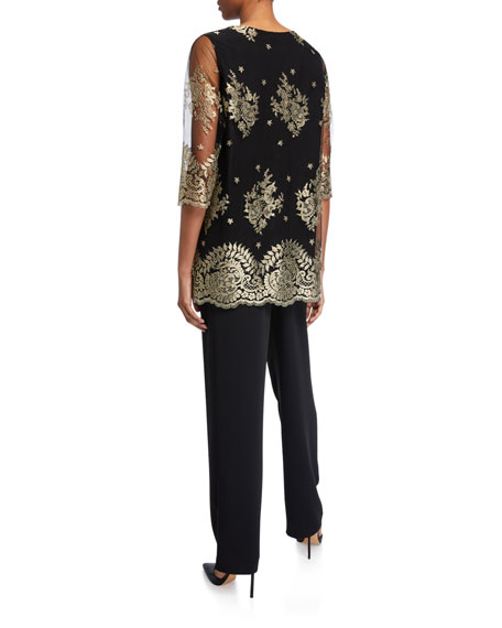 Caroline Rose Luxury Lace 3/4-Sleeve Tunic