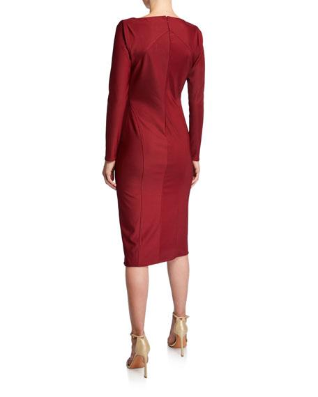 ZAC Zac Posen V-Neck Long-Sleeve Bondage Jersey Dress