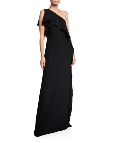ZAC Zac Posen One-Shoulder Silky Crepe Gown