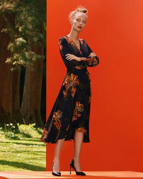 Ted Baker London Stela Caramel Printed Long-Sleeve Midi Wrap Dress