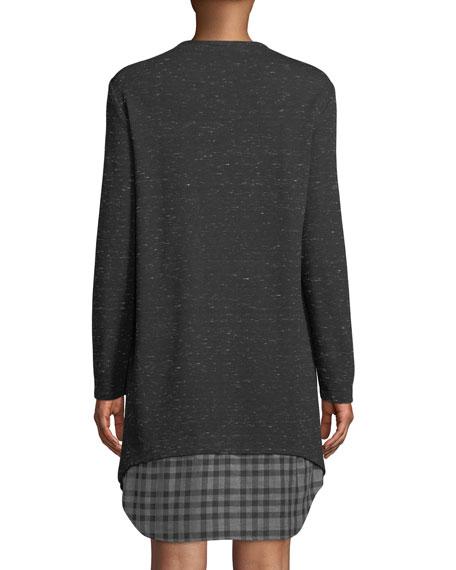 Finley Petite Madison Long-Sleeve Checkered-Layer Dress
