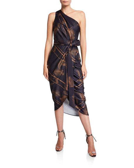 Ted Baker London Gabia Printed One-Shoulder Midi Wrap Dress
