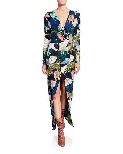 Les Chats Long-Sleeve Maxi Dress