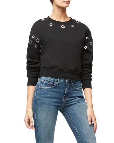 Grommet-Trim Crop Sweatshirt - Inclusive Sizing