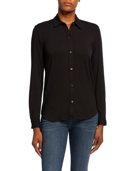 Majestic Filatures Soft Touch Long-Sleeve Button-Front Collared Shirt