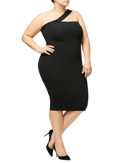 Good American Asymmetric Rib Cocktail Dress - Inclusive Sizing