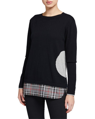 Plus Size Crewneck Dot Intarsia Sweater with Plaid Hem Detail