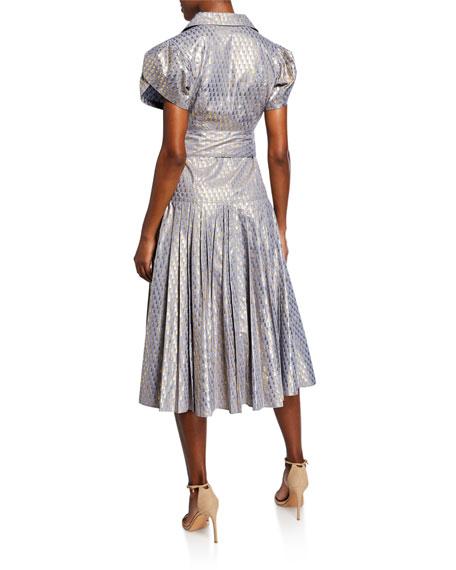 Alexis Azure Metallic Button-Front Midi Dress