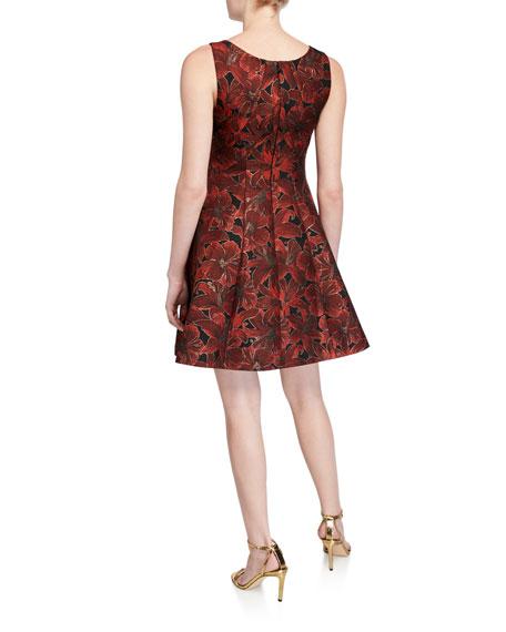 ZAC Zac Posen Sleeveless Floral Jacquard Fit-and-Flare Dress