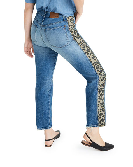 Madewell Classic Straight Cropped Jeans with Leopard Taping
