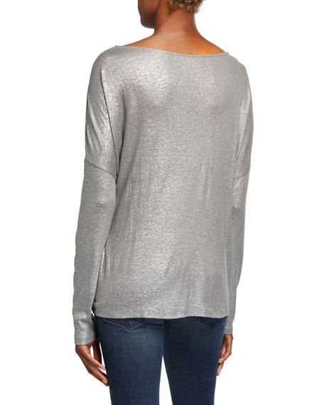 Majestic Filatures Metallic Boat-Neck Drop-Shoulder Sweater