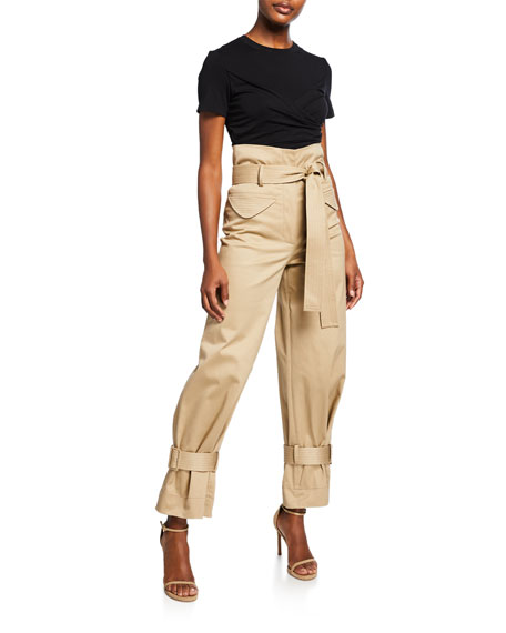 Alexis Vicente High-Rise Belted Cargo Pants