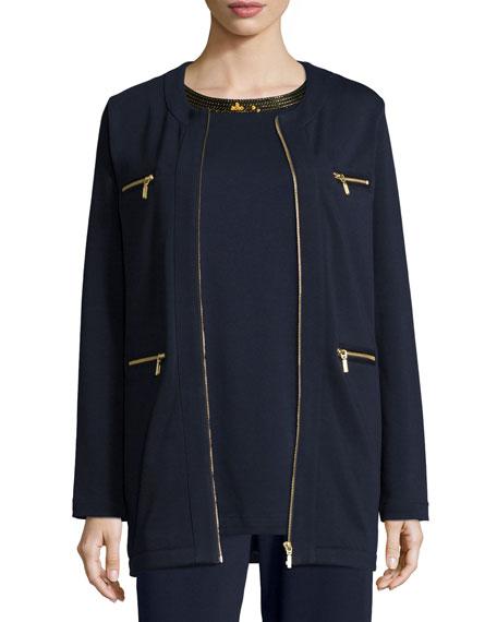 Joan Vass Petite Four-Pocket Cotton Interlock Jacket