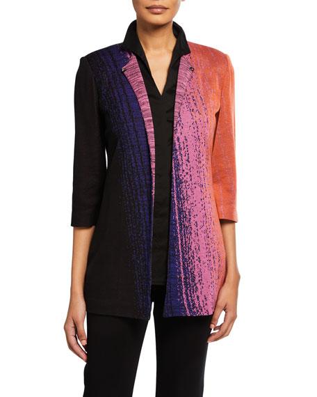 Misook Plus Size Colorful 3/4-Sleeve Long Jacket