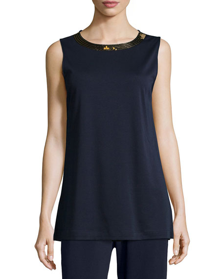 Joan Vass Petite Sequined-Neck Long Interlock Tank