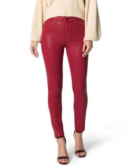 Joe's Jeans The Charlie Skinny Coated Ankle Pants w/ Cut Hem