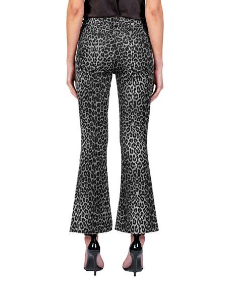 Black Orchid Chrissy Kick Flare Cheetah-Print Jeans