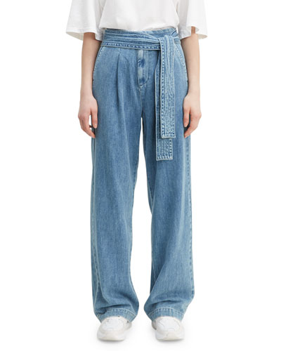 Tie-Waist Denim Trousers