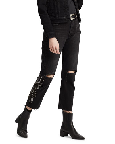 501 Crop Distressed Straight Jeans with Rivets