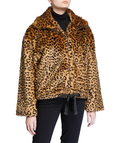Brigit Leopard Faux-Fur Jacket