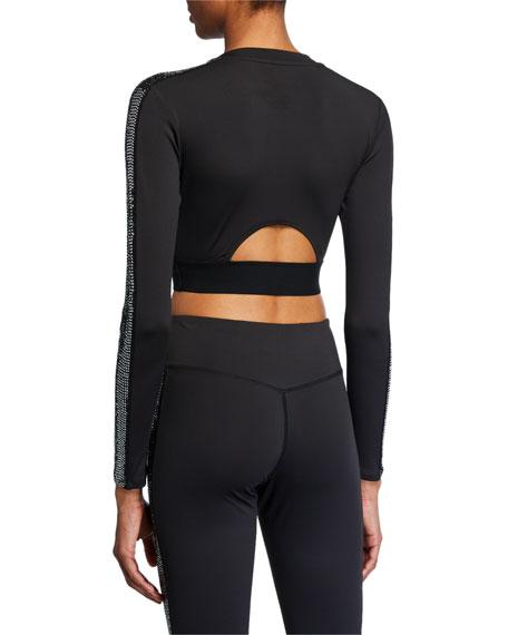 Pam & Gela Solid Long-Sleeve Crop Top