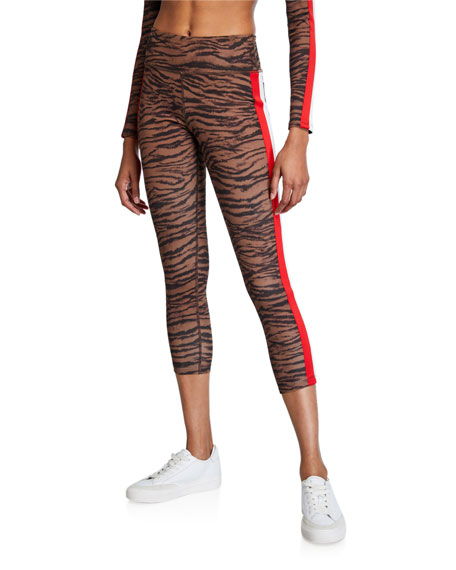 Image 1 of 3: Pam & Gela Tiger Stripe High-Rise 7/8 Leggings