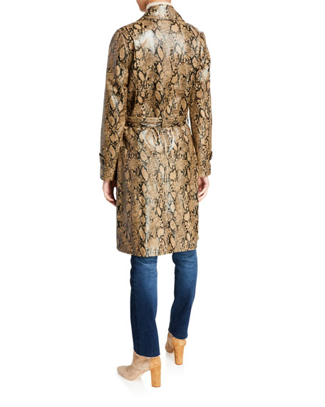 FRAME Embossed Leather Belted Python Trench Coat