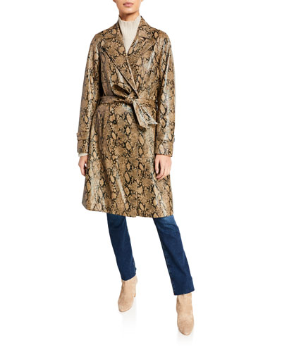 Embossed Leather Belted Python Trench Coat