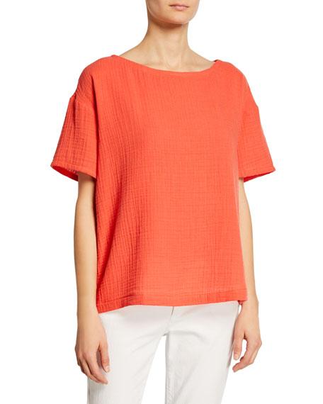Eileen Fisher Short-Sleeve Cotton Gauze Top