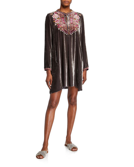 Johnny Was Valmere Embroidered Velvet Henley Tunic Dress