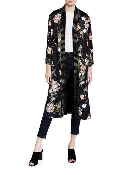 Johnny Was Plus Size Floral Print Velvet Mix Kimono