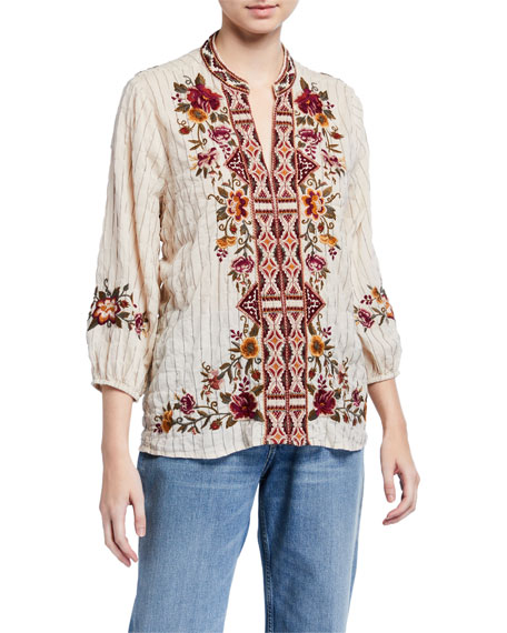 Johnny Was Nepal Striped Effortless Swing Blouse with Embroidery
