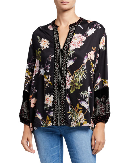 Johnny Was Plus Size Floral Long-Sleeve Velvet Trim Mix Paris Effortless Blouse