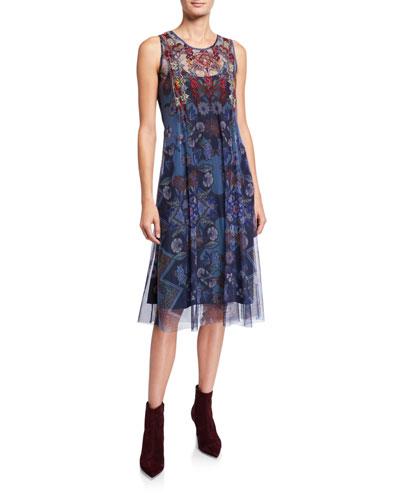 Mihanay Floral Sleeveless Long Mesh Midi Dress