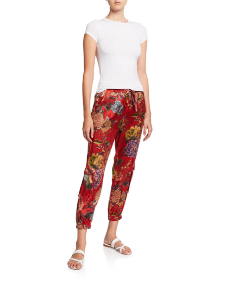 Johnny Was Lodi Floral Stretch Silk Cargo Pants