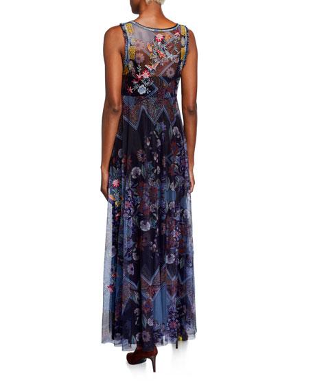 Johnny Was Glynvi Printed Mesh Sleeveless Maxi Dress