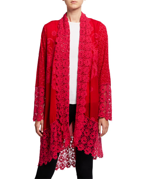 Johnny Was Plus Size Asao Eyelet Long-Sleeve Tie-Front Kimono Jacket