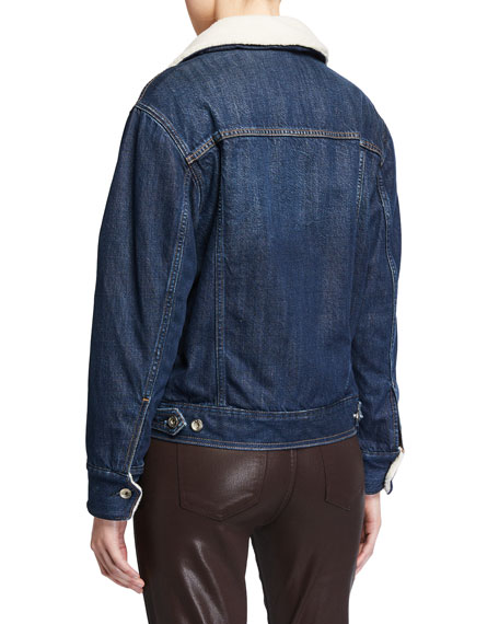 Rag & Bone Classic Denim Trucker Jacket with Fleece